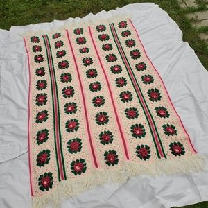 Vintage Crochet Granny Square 3D Floral Blanket